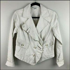 CAbi cream waxed linen asymmetrical ruffle jacket